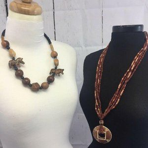 Jewelry - LOT 2 Wooden Bead Necklace African Tribal Wildlife